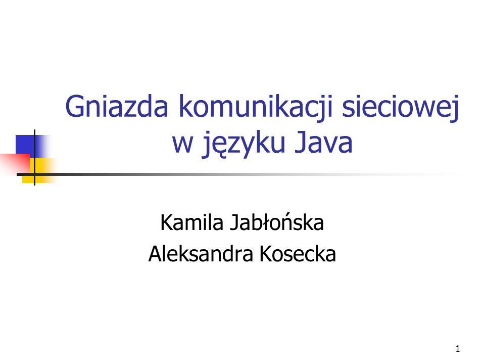 1 Gniazda komunikacji sieciowej w języku Java Kamila Jabłońska Aleksandra Kosecka