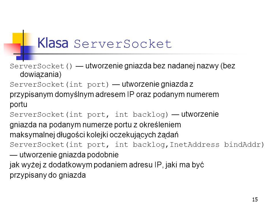 15 Klasa ServerSocket ServerSocket() utworzenie gniazda bez nadanej nazwy (bez dowiązania) ServerSocket(int port) utworzenie gniazda z przypisanym dom