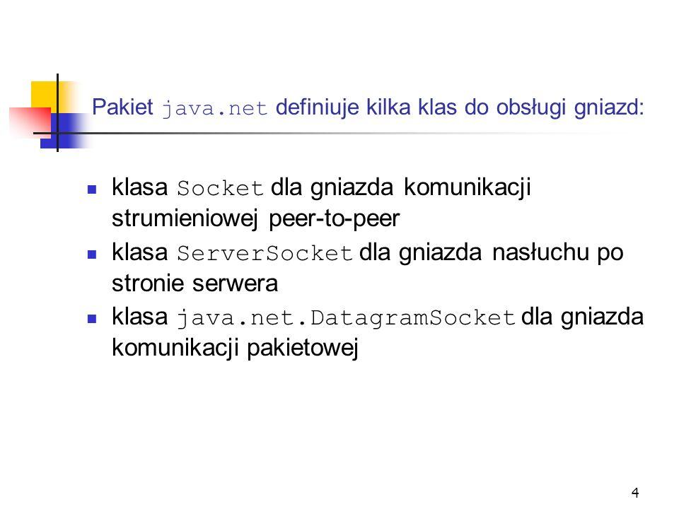 4 klasa Socket dla gniazda komunikacji strumieniowej peer-to-peer klasa ServerSocket dla gniazda nasłuchu po stronie serwera klasa java.net.DatagramSo