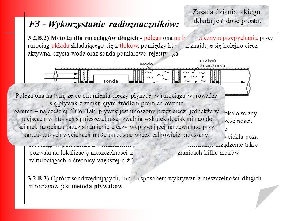 F3 - Wykorzystanie radioznaczników: 3.2.B.2) Metoda dla rurociągów długich - polega ona na hydraulicznym przepychaniu przez rurociąg układu składające