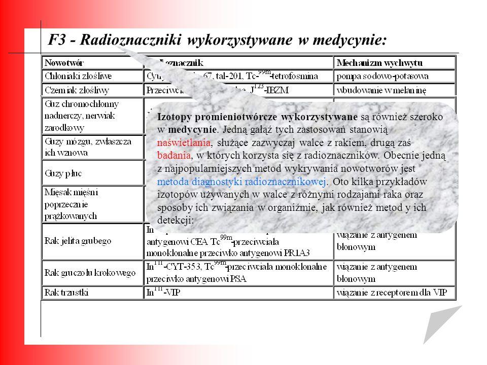 F3 - Radioznaczniki wykorzystywane w medycynie: Izotopy promieniotwórcze wykorzystywane są również szeroko w medycynie. Jedną gałąź tych zastosowań st