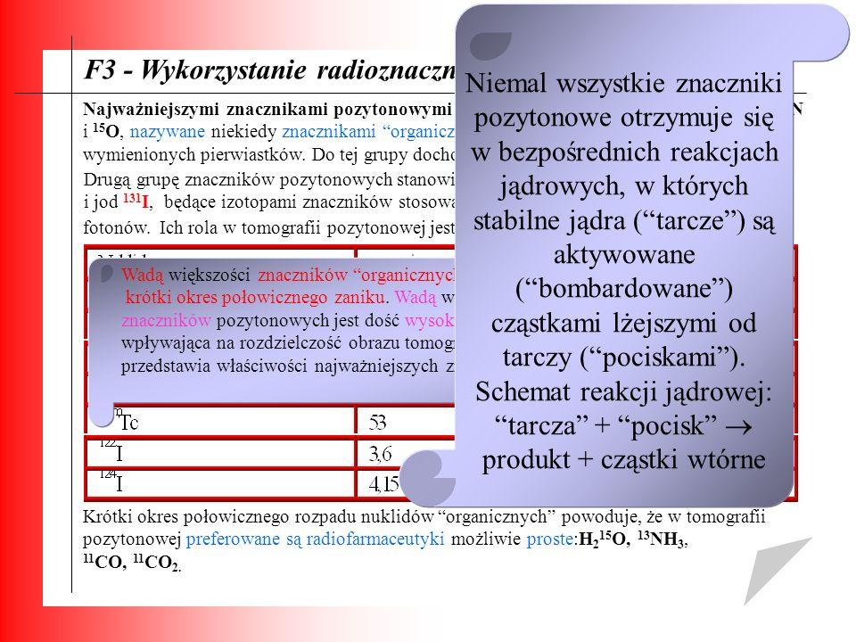 F3 - Wykorzystanie radioznaczników: Najważniejszymi znacznikami pozytonowymi są lekkie izotopy węgla, azotui tlenu: 11 C, 13 N i 15 O, nazywane niekie