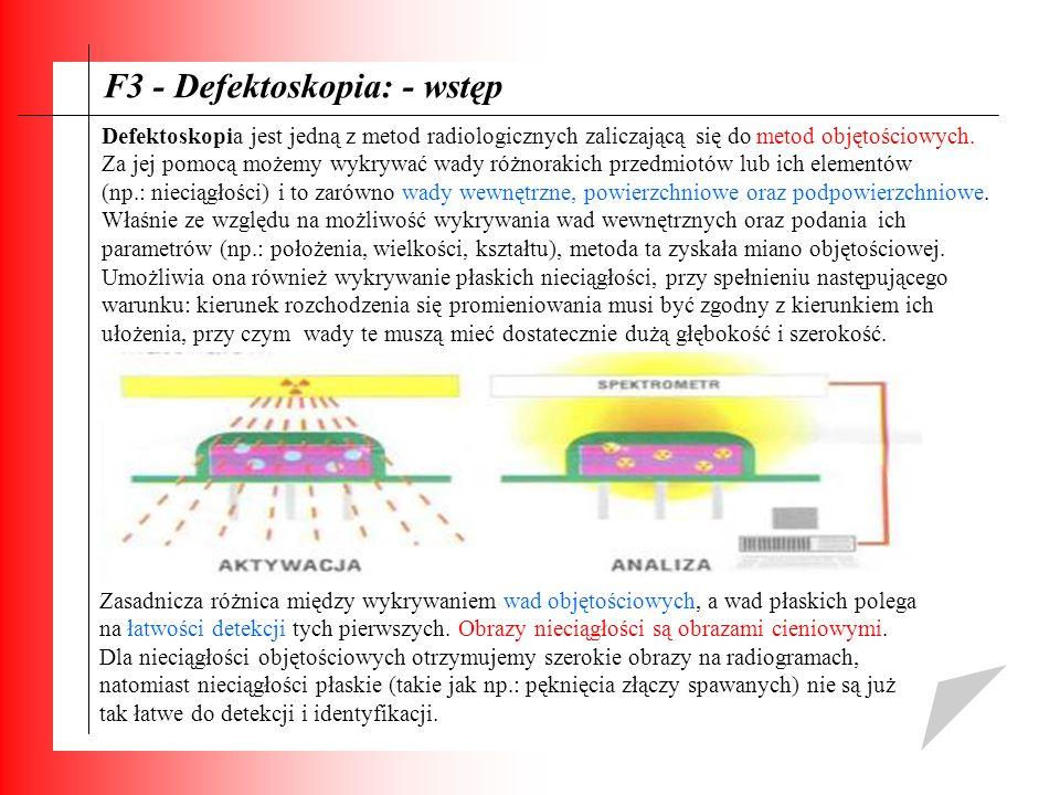 F3 - Defektoskopia: - wstęp Defektoskopia jest jedną z metod radiologicznych zaliczającą się do metod objętościowych. Za jej pomocą możemy wykrywać wa