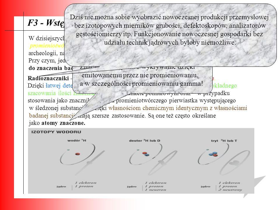F3 - Wstęp: W dzisiejszych czasach możemy zaobserwować znaczący wzrost liczby zastosowań promieniotwórczości, zwłaszcza w: dziedzinie chemii, biologii