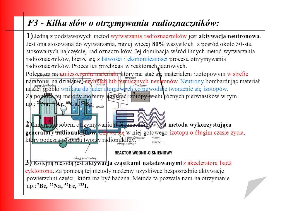 F3 - Kilka słów o otrzymywaniu radioznaczników: 1) Jedną z podstawowych metod wytwarzania radioznaczników jest aktywacja neutronowa. Jest ona stosowan