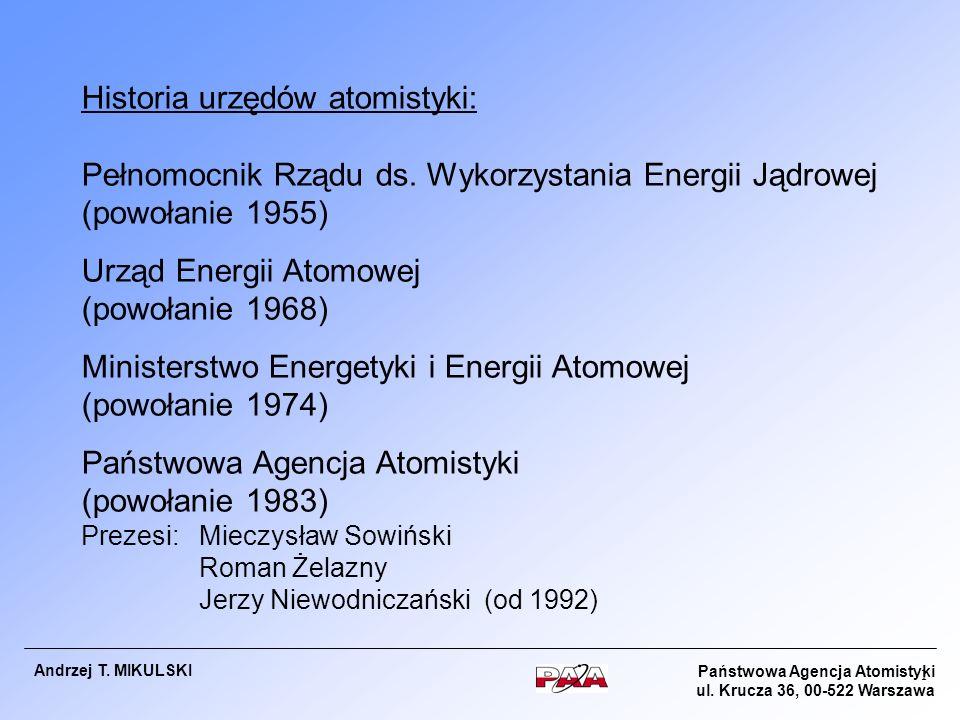 Państwowa Agencja Atomistyki ul. Krucza 36, 00-522 Warszawa Andrzej T. MIKULSKI 1 Historia urzędów atomistyki: Pełnomocnik Rządu ds. Wykorzystania Ene