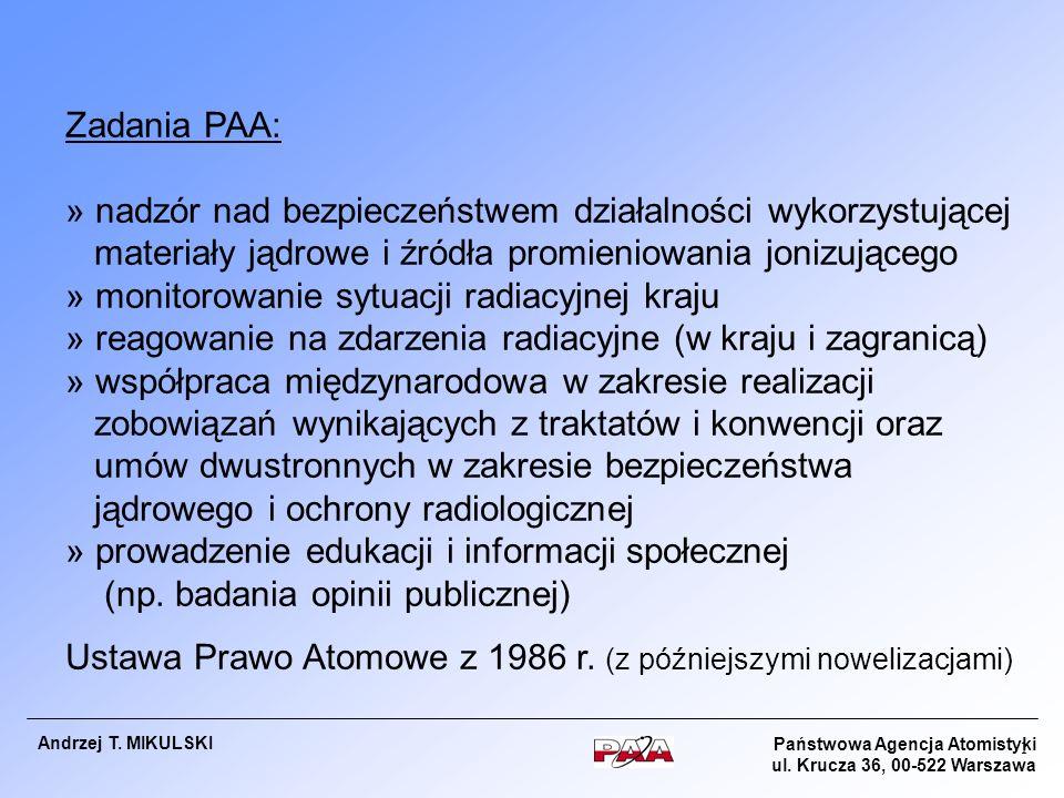 Państwowa Agencja Atomistyki ul. Krucza 36, 00-522 Warszawa Andrzej T. MIKULSKI 1 Zadania PAA: » nadzór nad bezpieczeństwem działalności wykorzystując