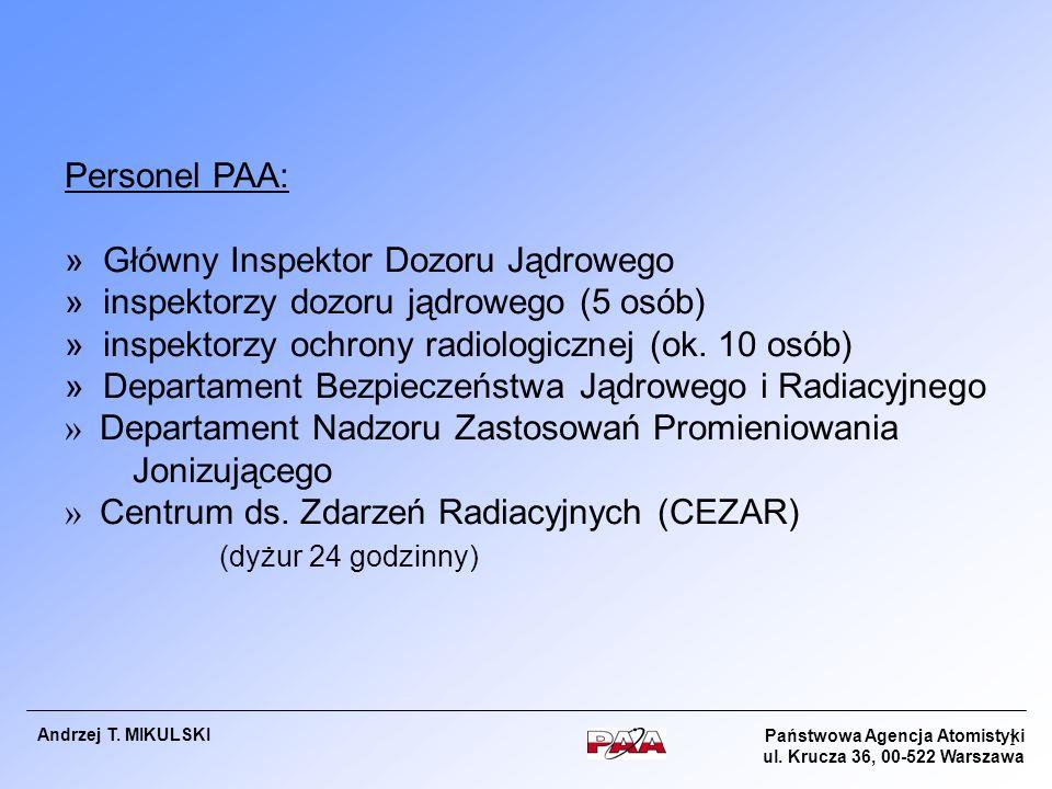 Państwowa Agencja Atomistyki ul. Krucza 36, 00-522 Warszawa Andrzej T. MIKULSKI 1 Personel PAA: » Główny Inspektor Dozoru Jądrowego » inspektorzy dozo