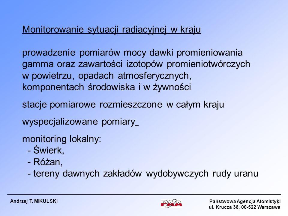 Państwowa Agencja Atomistyki ul. Krucza 36, 00-522 Warszawa Andrzej T. MIKULSKI 1 Monitorowanie sytuacji radiacyjnej w kraju prowadzenie pomiarów mocy