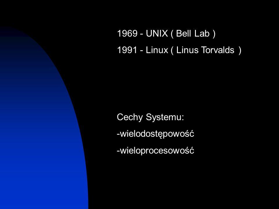 1969 - UNIX ( Bell Lab ) 1991 - Linux ( Linus Torvalds ) Cechy Systemu: -wielodostępowość -wieloprocesowość