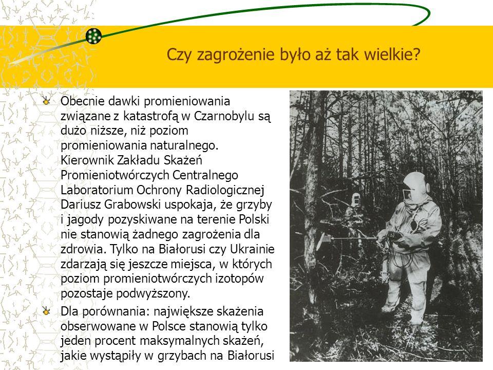 Czy zagrożenie było aż tak wielkie? Obecnie dawki promieniowania związane z katastrofą w Czarnobylu są dużo niższe, niż poziom promieniowania naturaln