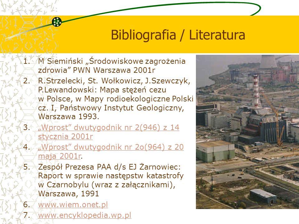 Bibliografia / Literatura 1.M Siemiński Środowiskowe zagrożenia zdrowia PWN Warszawa 2001r 2.R.Strzelecki, St. Wołkowicz, J.Szewczyk, P.Lewandowski: M