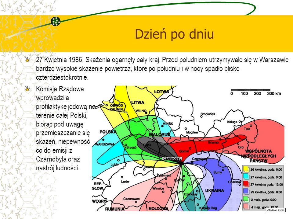 Dzień po dniu 27 Kwietnia 1986. Skażenia ogarnęły cały kraj. Przed południem utrzymywało się w Warszawie bardzo wysokie skażenie powietrza, które po p
