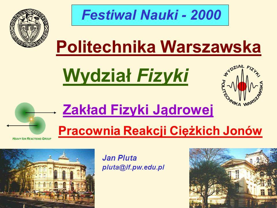 Jan Pluta pluta@if.pw.edu.pl Politechnika Warszawska Wydział Fizyki Zakład Fizyki Jądrowej Pracownia Reakcji Ciężkich Jonów Festiwal Nauki - 2000