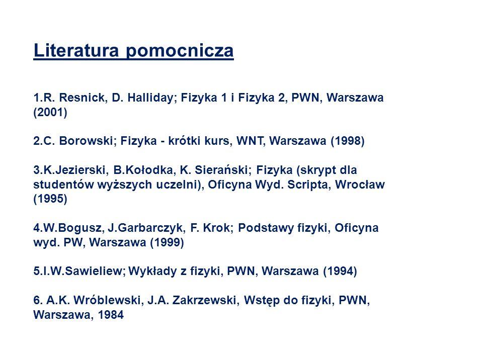 Literatura pomocnicza 1.R. Resnick, D. Halliday; Fizyka 1 i Fizyka 2, PWN, Warszawa (2001) 2.C. Borowski; Fizyka - krótki kurs, WNT, Warszawa (1998) 3