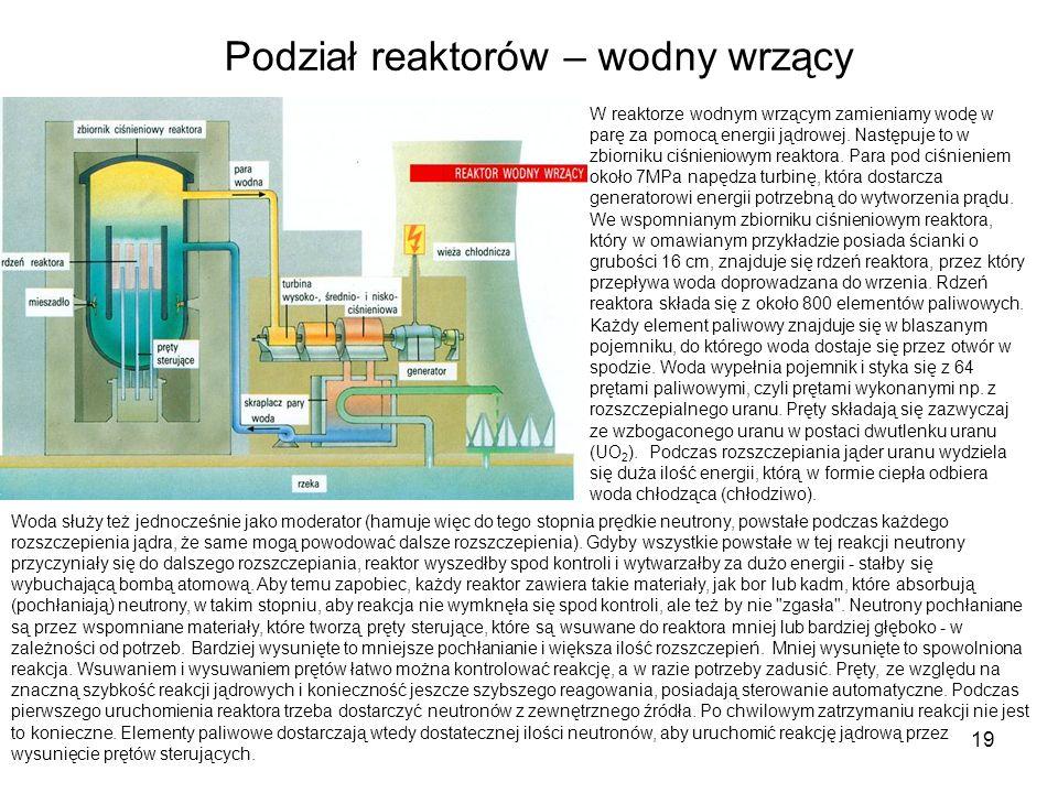 19 Podział reaktorów – wodny wrzący W reaktorze wodnym wrzącym zamieniamy wodę w parę za pomocą energii jądrowej. Następuje to w zbiorniku ciśnieniowy
