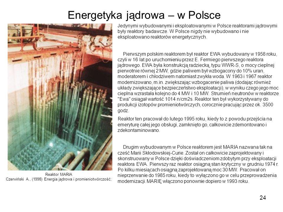 24 Energetyka jądrowa – w Polsce Jedynymi wybudowanymi i eksploatowanymi w Polsce reaktorami jądrowymi były reaktory badawcze. W Polsce nigdy nie wybu