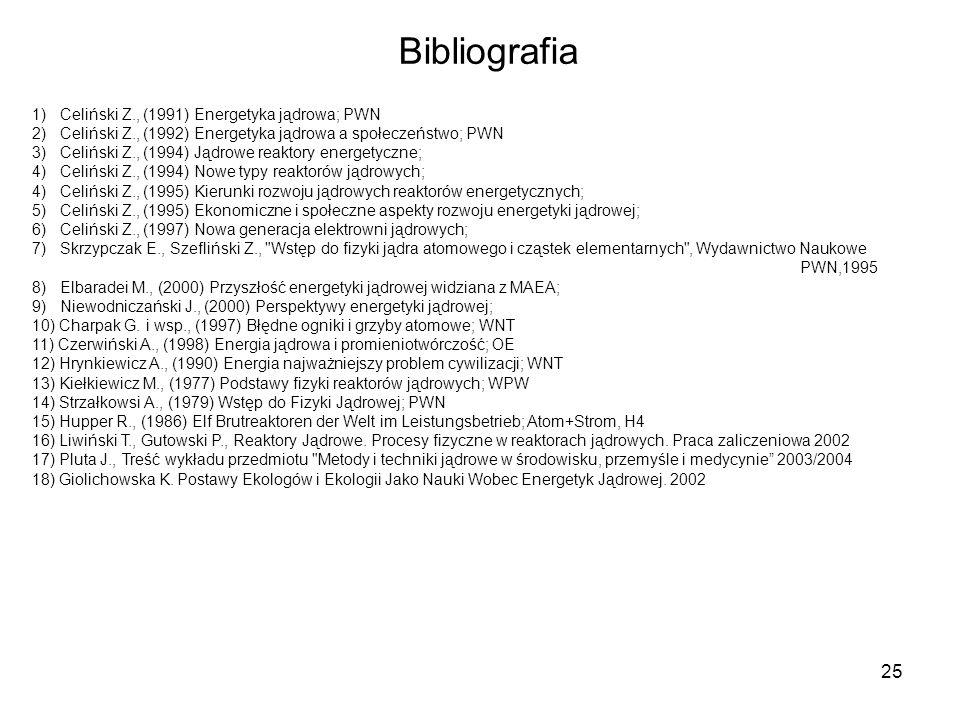 25 Bibliografia 1) Celiński Z., (1991) Energetyka jądrowa; PWN 2) Celiński Z., (1992) Energetyka jądrowa a społeczeństwo; PWN 3) Celiński Z., (1994) J