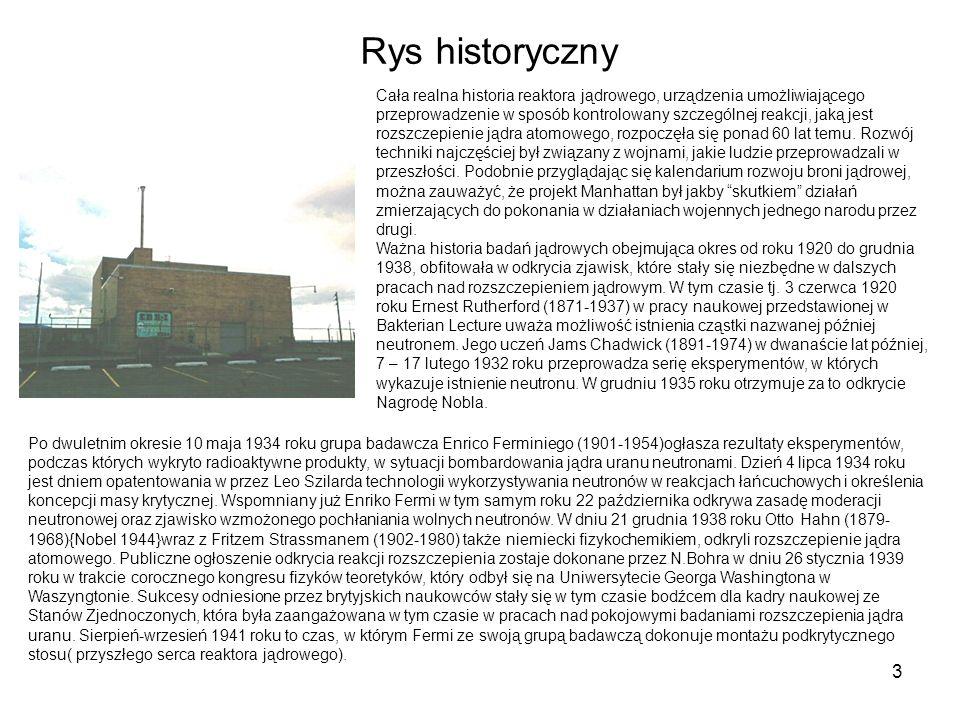 3 Rys historyczny Cała realna historia reaktora jądrowego, urządzenia umożliwiającego przeprowadzenie w sposób kontrolowany szczególnej reakcji, jaką