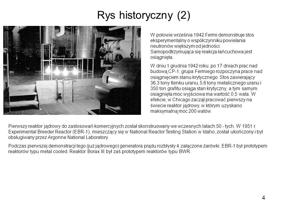 4 Rys historyczny (2) W połowie września 1942 Fermi demonstruje stos eksperymentalny o współczynniku powielania neutronów większym od jedności. Samopo