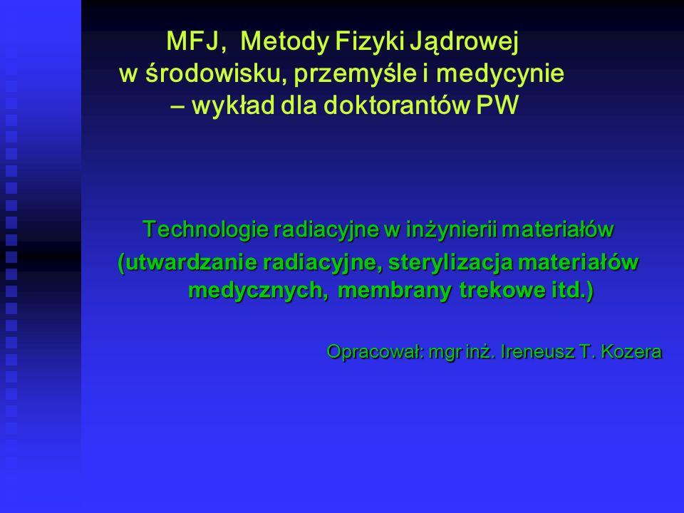 MFJ, Metody Fizyki Jądrowej w środowisku, przemyśle i medycynie – wykład dla doktorantów PW Technologie radiacyjne w inżynierii materiałów (utwardzani