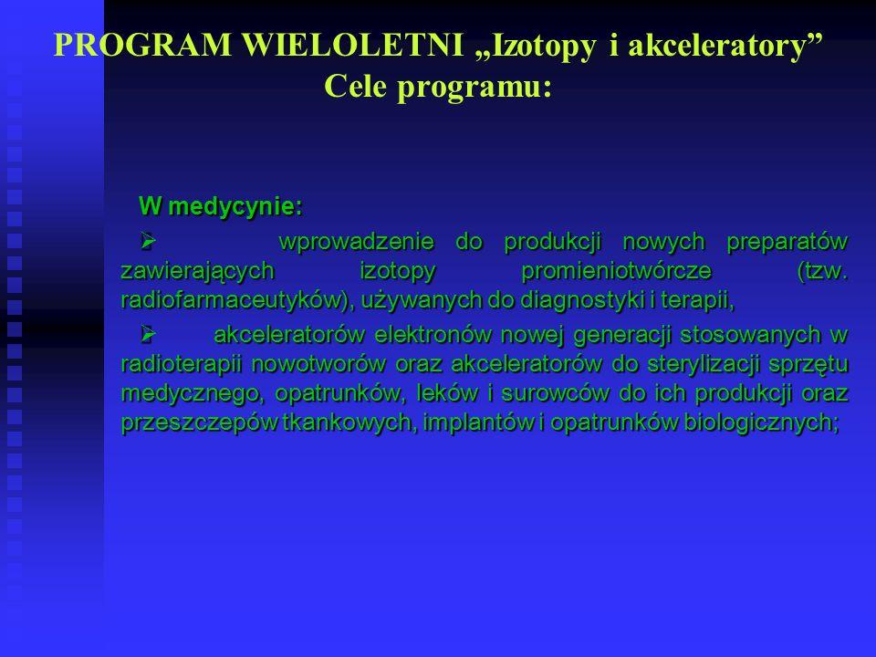 PROGRAM WIELOLETNI Izotopy i akceleratory Cele programu: W medycynie: wprowadzenie do produkcji nowych preparatów zawierających izotopy promieniotwórc