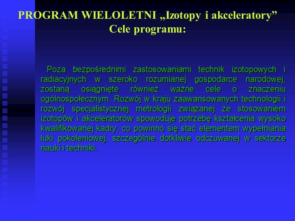 PROGRAM WIELOLETNI Izotopy i akceleratory Cele programu: Poza bezpośrednimi zastosowaniami technik izotopowych i radiacyjnych w szeroko rozumianej gos