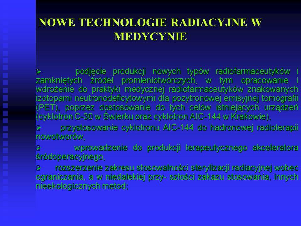 NOWE TECHNOLOGIE RADIACYJNE W MEDYCYNIE podjęcie produkcji nowych typów radiofarmaceutyków i zamkniętych źródeł promieniotwórczych, w tym opracowanie
