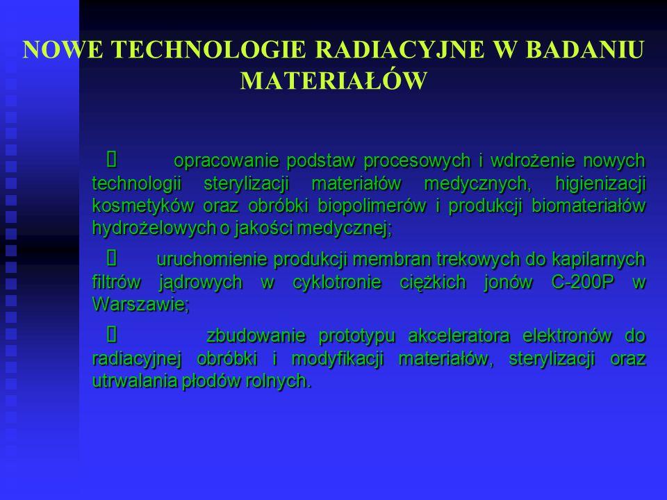 NOWE TECHNOLOGIE RADIACYJNE W BADANIU MATERIAŁÓW opracowanie podstaw procesowych i wdrożenie nowych technologii sterylizacji materiałów medycznych, hi