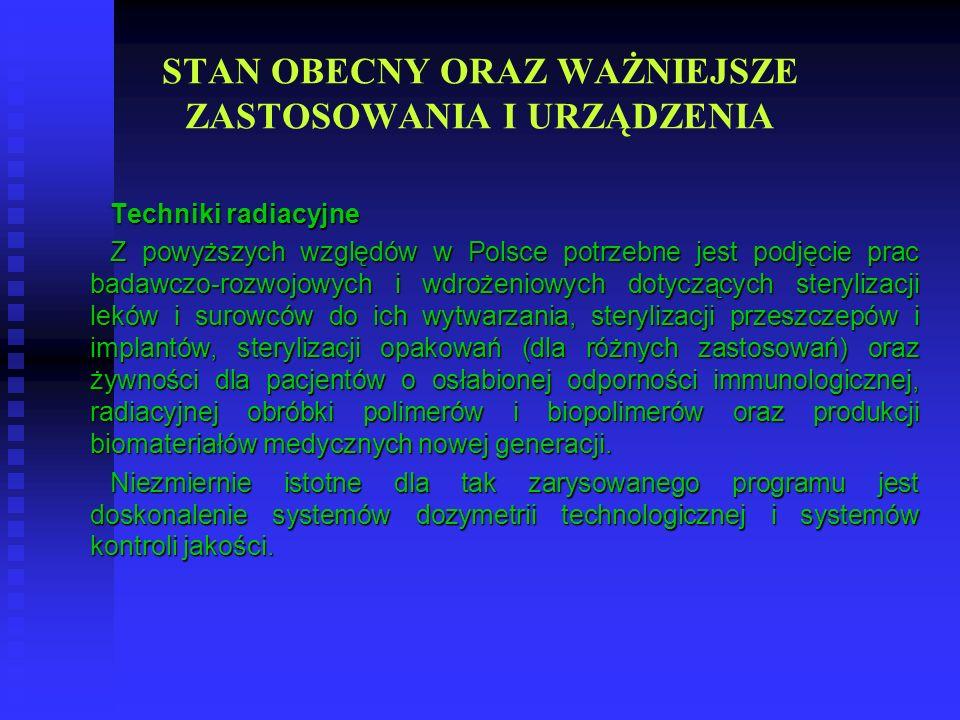 STAN OBECNY ORAZ WAŻNIEJSZE ZASTOSOWANIA I URZĄDZENIA Techniki radiacyjne Z powyższych względów w Polsce potrzebne jest podjęcie prac badawczo-rozwojo