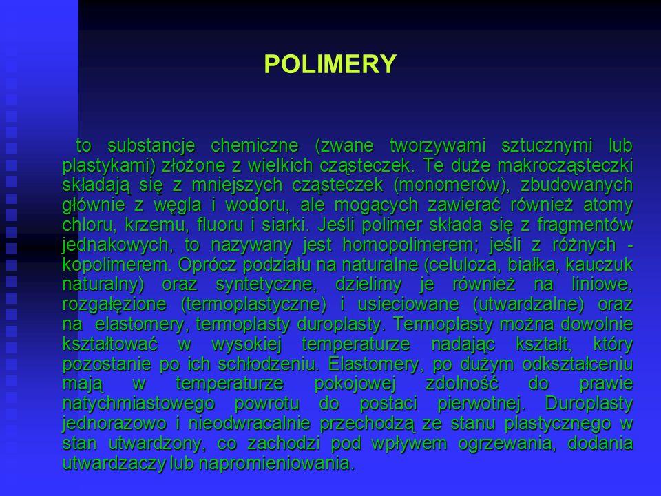 POLIMERY to substancje chemiczne (zwane tworzywami sztucznymi lub plastykami) złożone z wielkich cząsteczek. Te duże makrocząsteczki składają się z mn