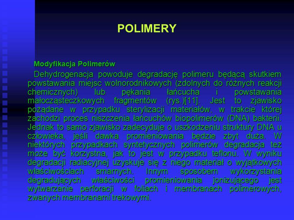 POLIMERY Modyfikacja Polimerów Dehydrogenacja powoduje degradację polimeru będącą skutkiem powstawania miejsc wolnorodnikowych (zdolnych do różnych re