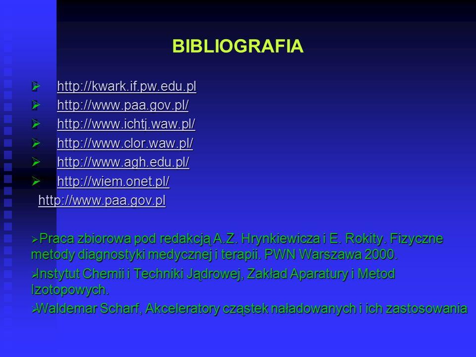 BIBLIOGRAFIA http://kwark.if.pw.edu.pl http://kwark.if.pw.edu.pl http://kwark.if.pw.edu.pl http://www.paa.gov.pl/ http://www.paa.gov.pl/ http://www.pa