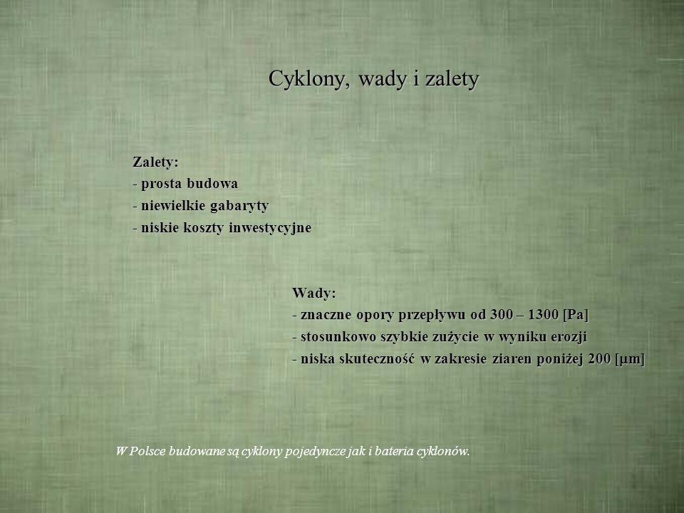 Skuteczność odpylania cyklonów w % dla baterii cyklonów Klasa ziarnaskuteczność [ m] [%] 0 – 10 22 10 – 20 50 20 – 30 92,5 30 – 40 98,5 40 – 6099 60 – 100 99,5 bateria 4 cyklonów 4x920mm