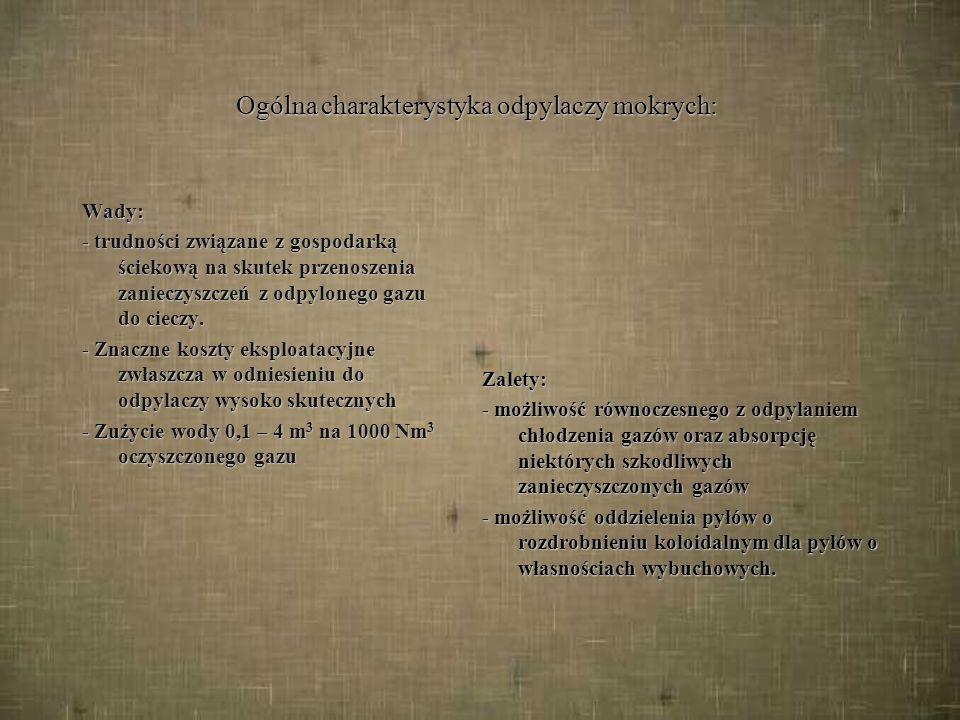 3.2. Odpylacze mokre, podział c.d.