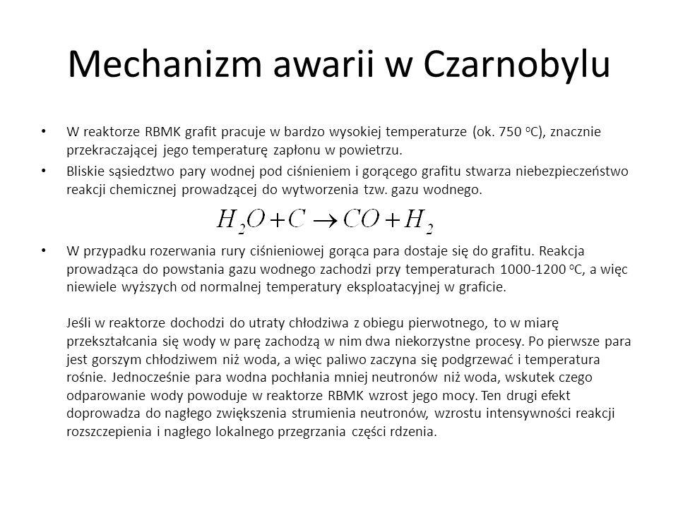 Mechanizm awarii w Czarnobylu W reaktorze RBMK grafit pracuje w bardzo wysokiej temperaturze (ok. 750 o C), znacznie przekraczającej jego temperaturę
