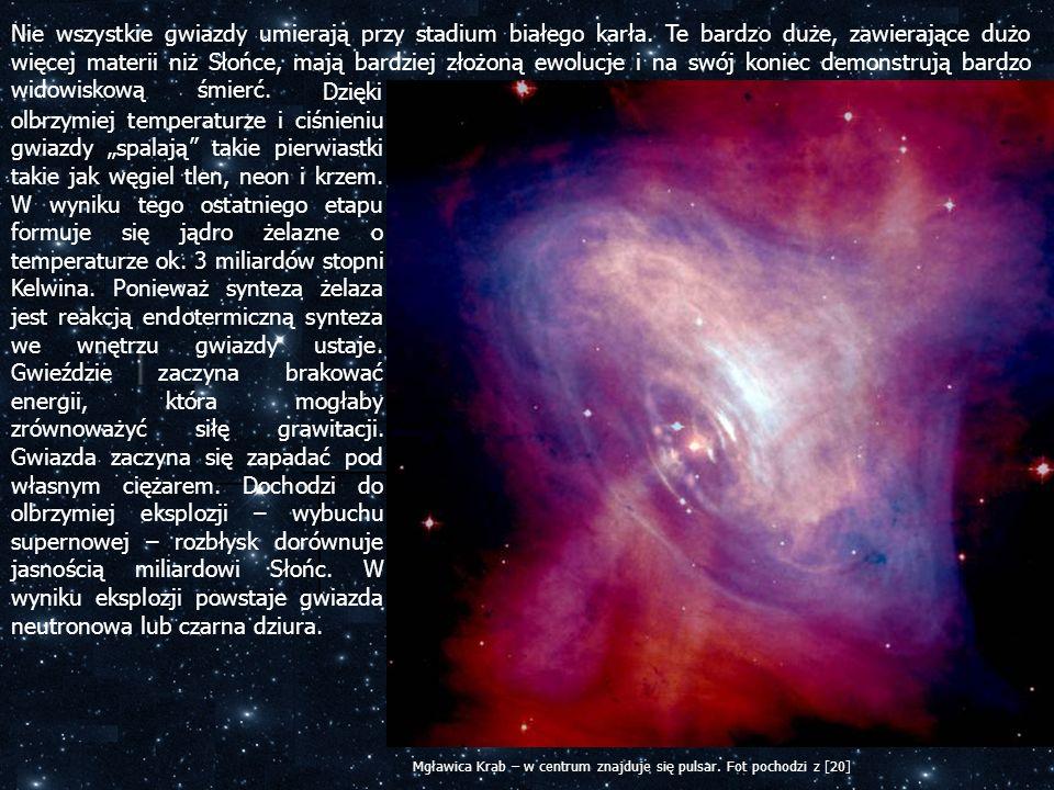 Nie wszystkie gwiazdy umierają przy stadium białego karła. Te bardzo duże, zawierające dużo więcej materii niż Słońce, mają bardziej złożoną ewolucje