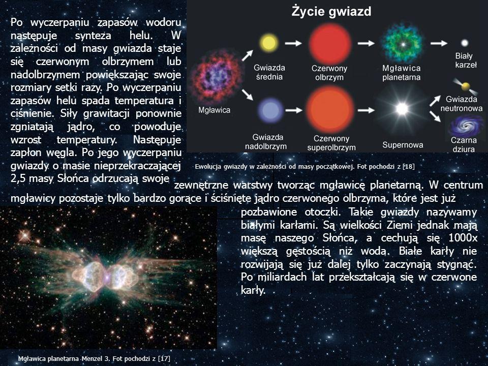 Po wyczerpaniu zapasów wodoru następuje synteza helu. W zależności od masy gwiazda staje się czerwonym olbrzymem lub nadolbrzymem powiększając swoje r