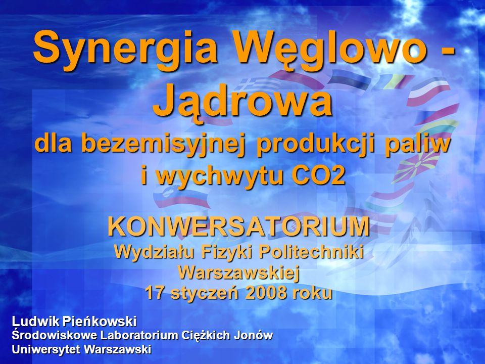 Ludwik Pieńkowski Środowiskowe Laboratorium Ciężkich Jonów Uniwersytet Warszawski Synergia Węglowo - Jądrowa dla bezemisyjnej produkcji paliw i wychwy