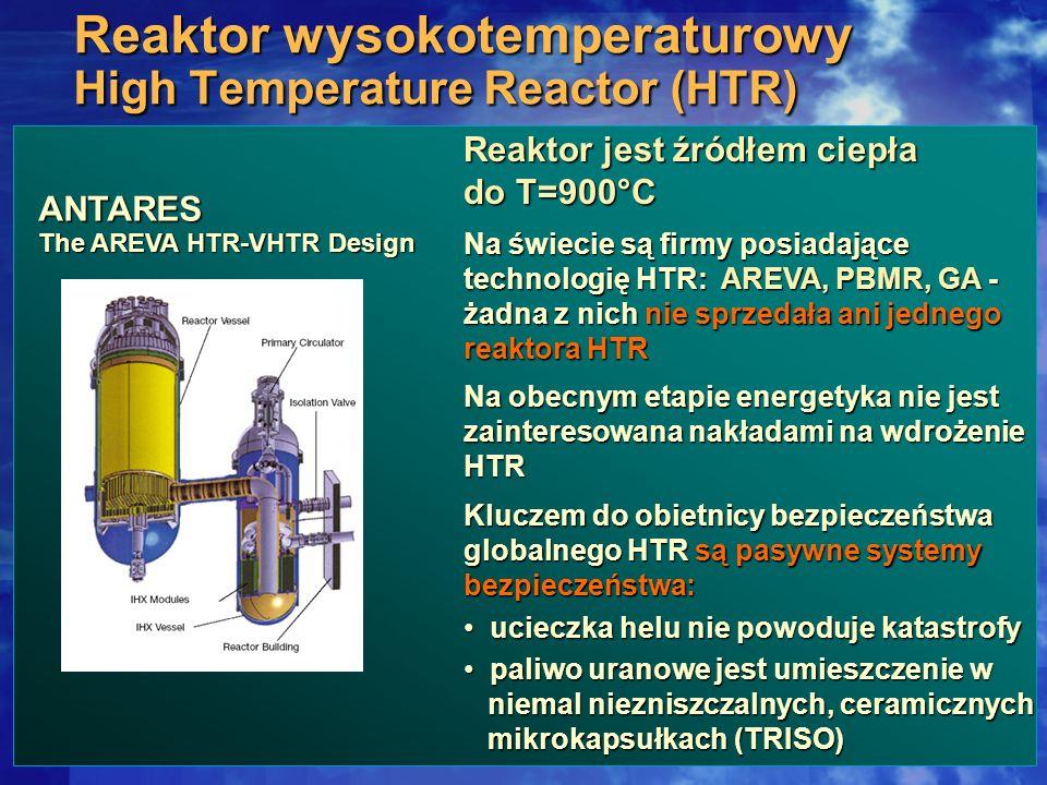 Reaktor wysokotemperaturowy High Temperature Reactor (HTR) Reaktor jest źródłem ciepła do T=900°C Na świecie są firmy posiadające technologię HTR: ARE
