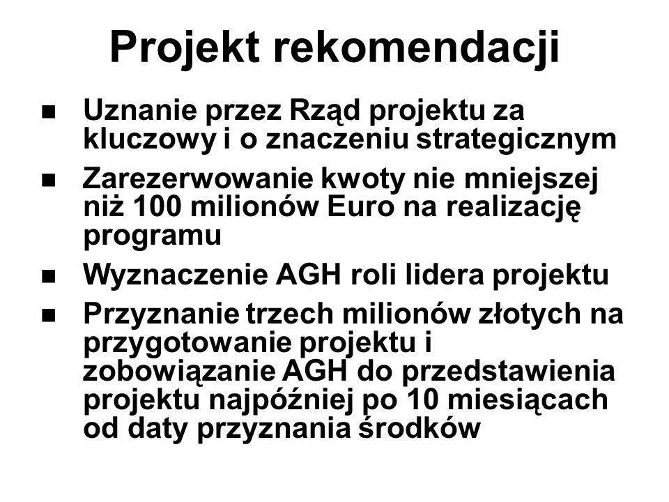 Projekt rekomendacji Uznanie przez Rząd projektu za kluczowy i o znaczeniu strategicznym Zarezerwowanie kwoty nie mniejszej niż 100 milionów Euro na r