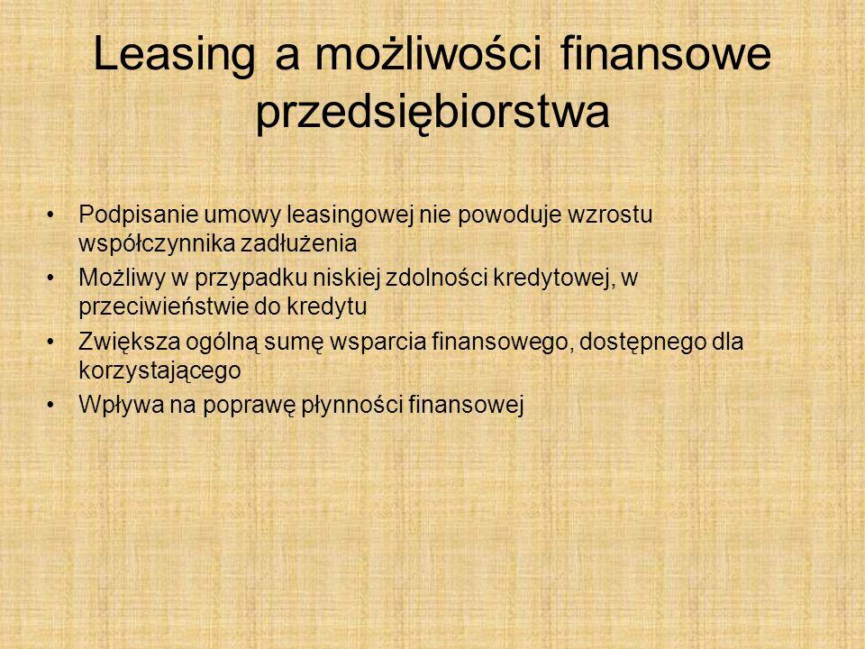 Leasing a możliwości finansowe przedsiębiorstwa Podpisanie umowy leasingowej nie powoduje wzrostu współczynnika zadłużenia Możliwy w przypadku niskiej