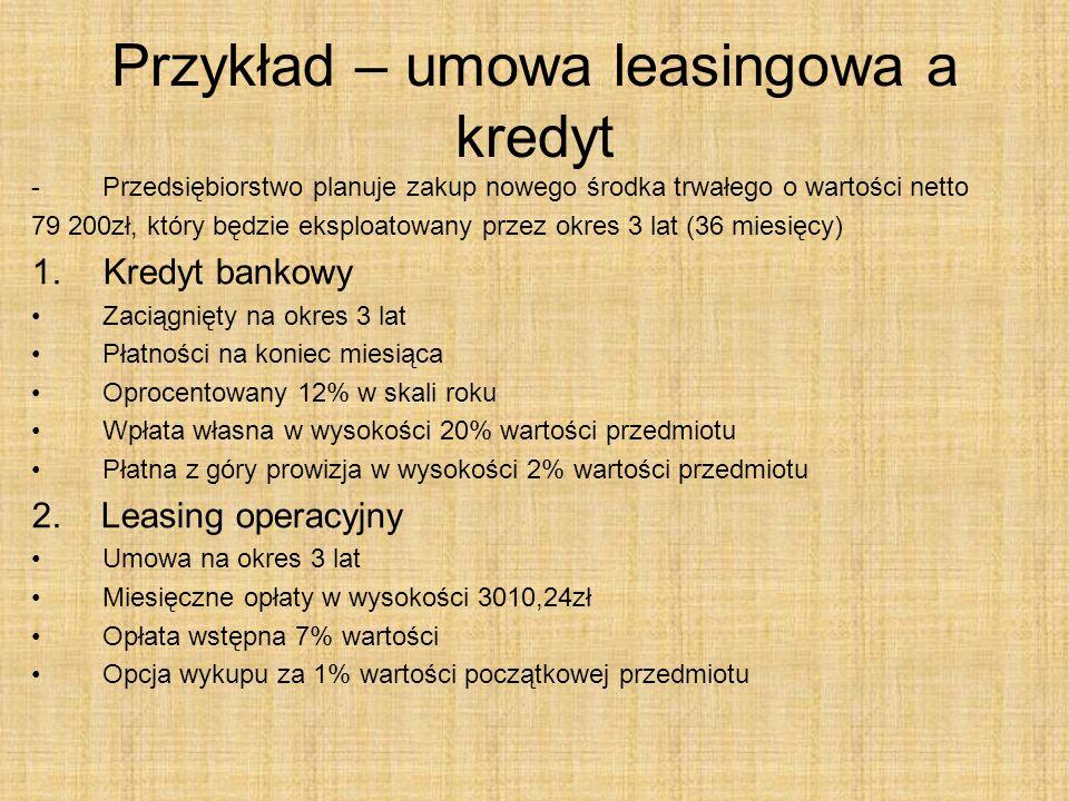 Przykład – umowa leasingowa a kredyt -Przedsiębiorstwo planuje zakup nowego środka trwałego o wartości netto 79 200zł, który będzie eksploatowany prze
