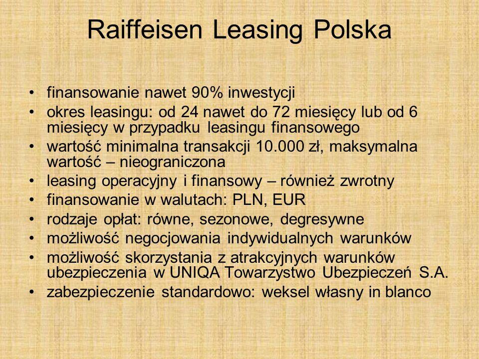 Raiffeisen Leasing Polska finansowanie nawet 90% inwestycji okres leasingu: od 24 nawet do 72 miesięcy lub od 6 miesięcy w przypadku leasingu finansow