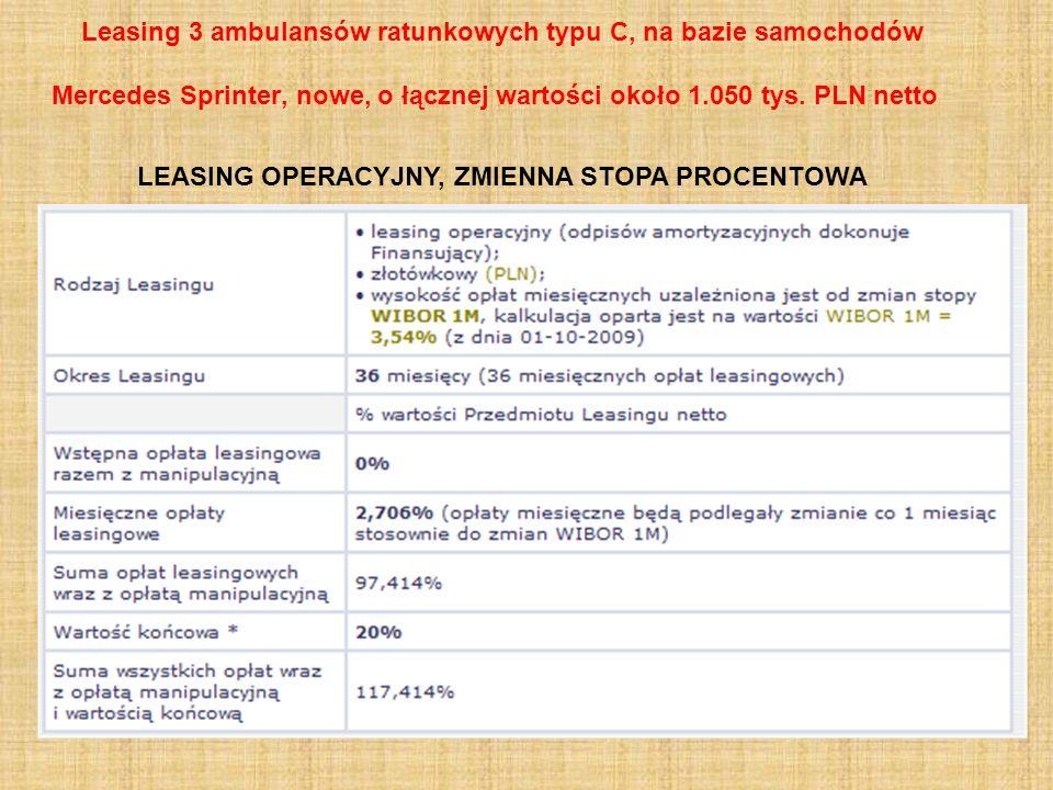 Leasing 3 ambulansów ratunkowych typu C, na bazie samochodów Mercedes Sprinter, nowe, o łącznej wartości około 1.050 tys. PLN netto LEASING OPERACYJNY