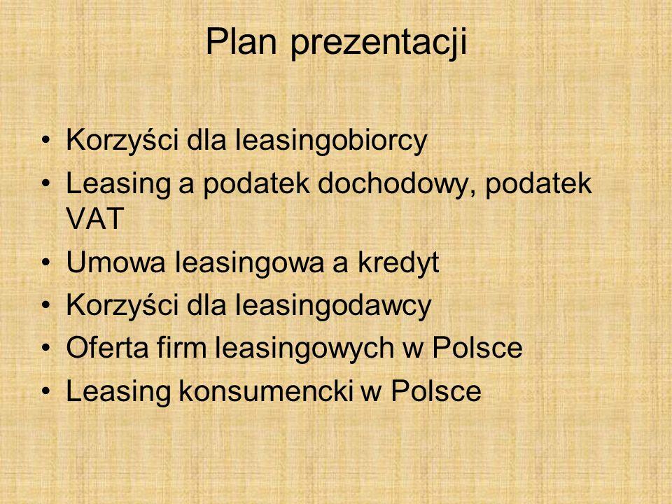 Plan prezentacji Korzyści dla leasingobiorcy Leasing a podatek dochodowy, podatek VAT Umowa leasingowa a kredyt Korzyści dla leasingodawcy Oferta firm
