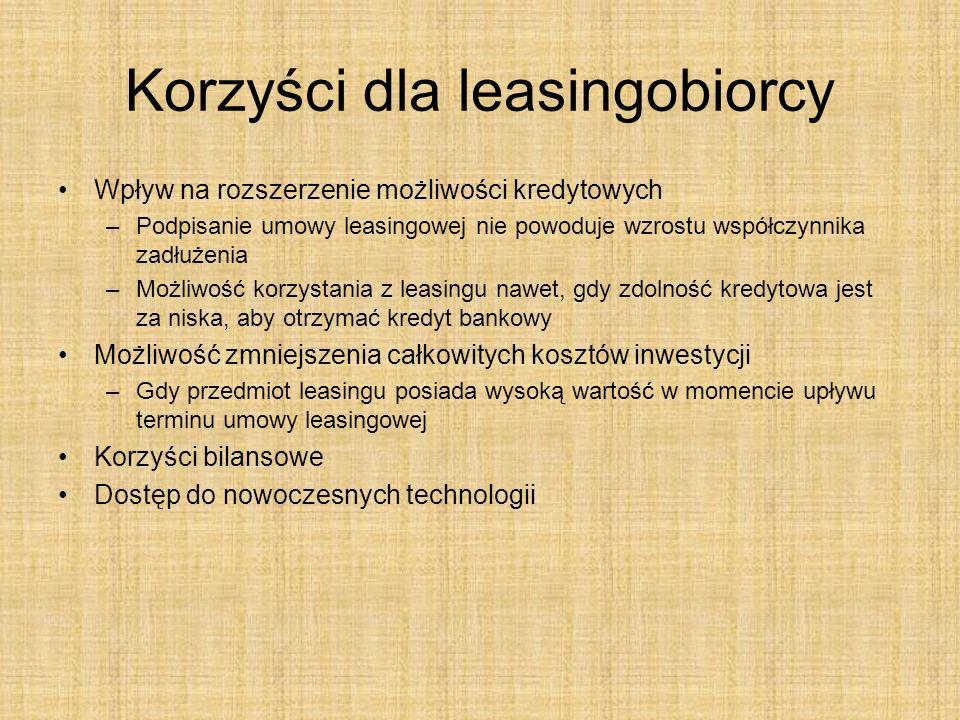 Korzyści dla leasingobiorcy Wpływ na rozszerzenie możliwości kredytowych –Podpisanie umowy leasingowej nie powoduje wzrostu współczynnika zadłużenia –