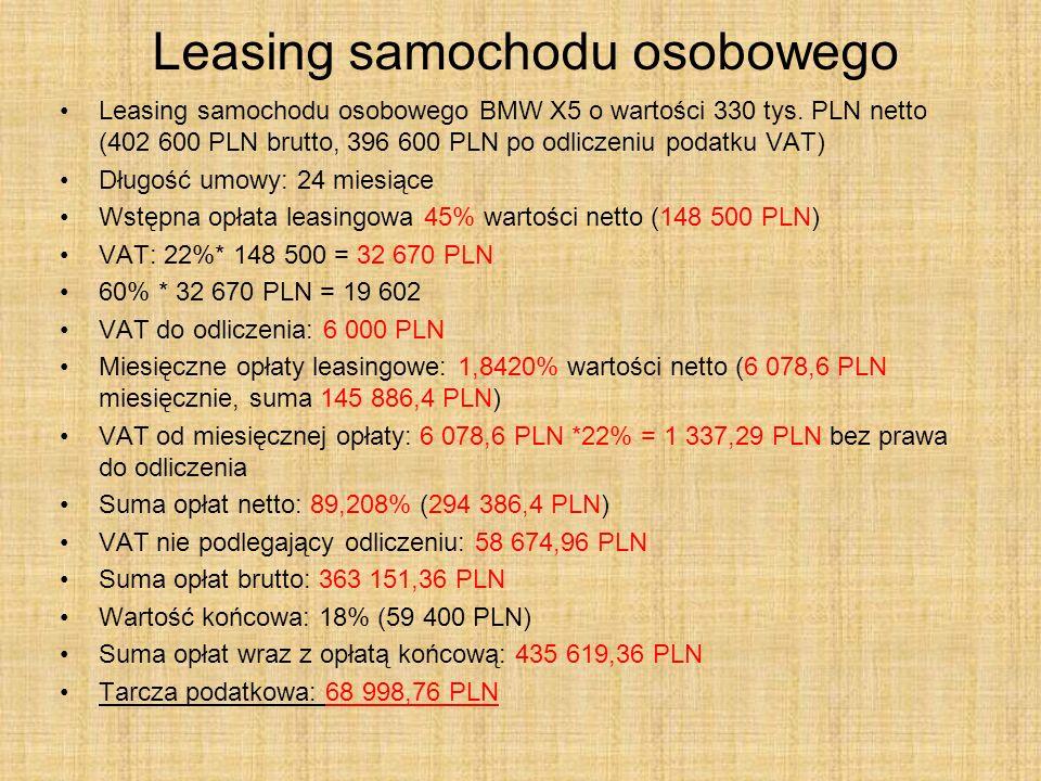 Leasing samochodu osobowego Leasing samochodu osobowego BMW X5 o wartości 330 tys. PLN netto (402 600 PLN brutto, 396 600 PLN po odliczeniu podatku VA