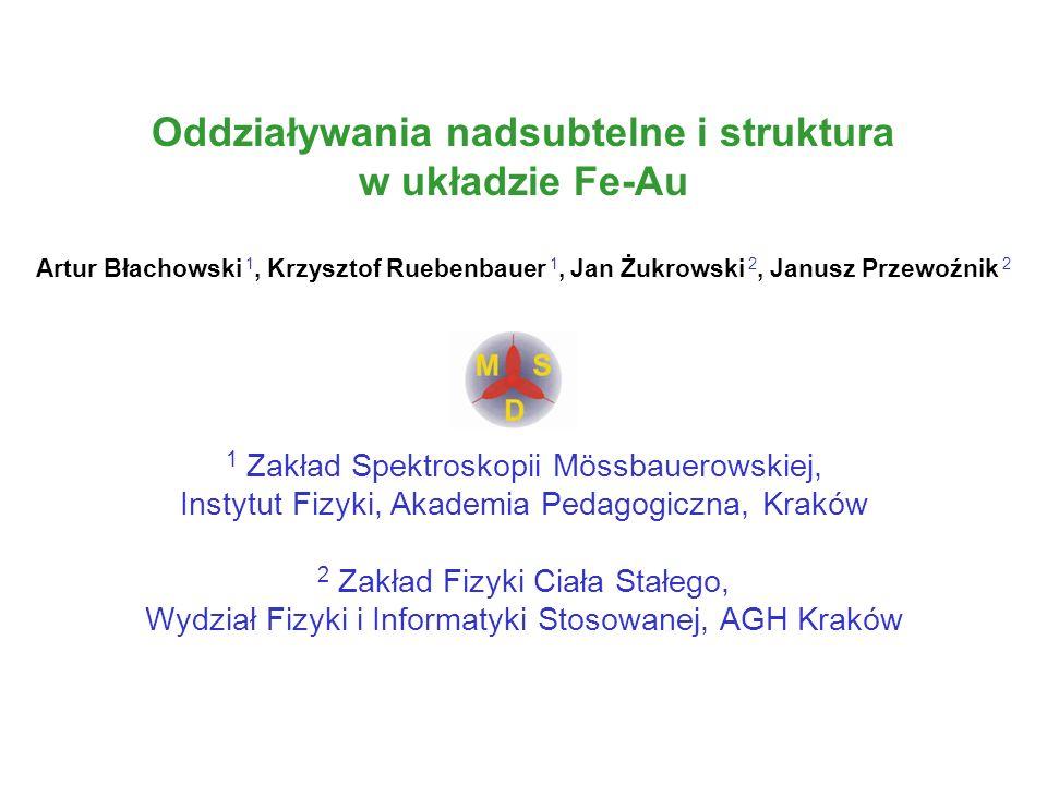Oddziaływania nadsubtelne i struktura w układzie Fe-Au Artur Błachowski 1, Krzysztof Ruebenbauer 1, Jan Żukrowski 2, Janusz Przewoźnik 2 1 Zakład Spek