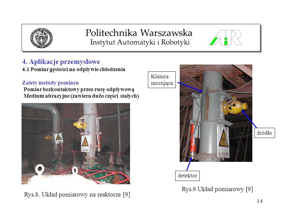 14 Politechnika Warszawska Instytut Automatyki i Robotyki 4. Aplikacje przemysłowe 4.1 Pomiar gęstości na odpływie chłodzenia Zalety metody pomiaru Po